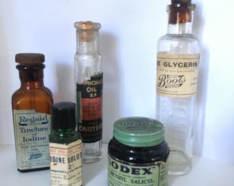 Assorted vintage medications for pharmacy display