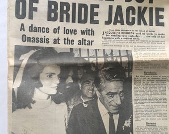 Copy of 60s newspaper with story about Jackie Kennedy Onnasis
