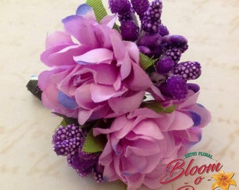 Vintage inspired floral bouquet brooch -  lilac roses - 40's, 50's, pin-up