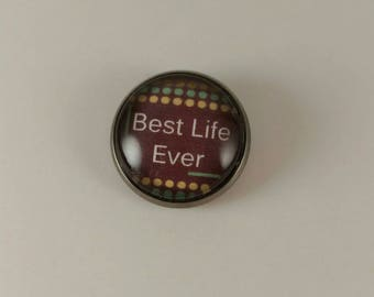 """JW men's Tie Tac featuring """"best life ever"""". Brown with dot background. Jw menswear, jw accessories, jw gifts, jw items"""