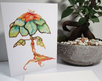 Tiffany lamp watercolor tree whimsical art five  cards and envelopes everyday greeting birthday greeting card