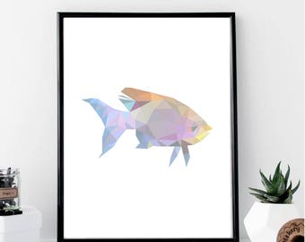 Geometric Abstract Fish Color Print // Minimalist // Wall Art // Typography // Fashion // Scandinavian // Boho // Modern Office
