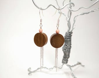 Graywood Wood and Matte Pale Pink Faceted Glass Bead Earrings