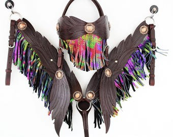 MadcoW Handmade Brown Angle Wings Fringe Wickett & Craig Hand Tooled Leather Headstall Western Horse Trail Show Bridle Breast Collar Set
