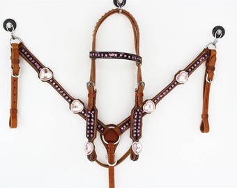 Western Pony Size Horse Bridle Leather Heart Bling Headstall Breast Collar Tack Set