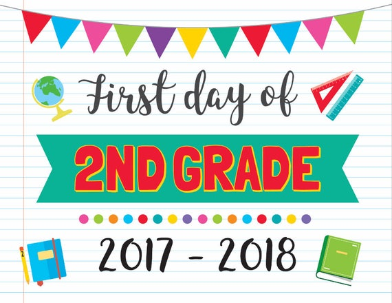 This is an image of Fan First Day of 2nd Grade Printable Sign
