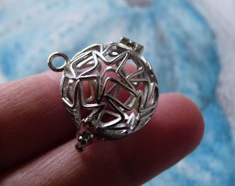 Angel Caller, Pearl Pendant Cage, Bead Cage, Bola Harmony Angel Pendant, Angel Caller Pendant, Dark Silver Tone Star Pendant