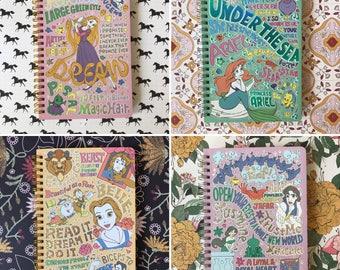 Disney princess line type design B6 spiral ring notebook