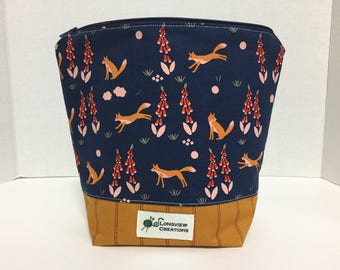 Wedge Bag, Knitting Project Bag, Make-up Bag, Sock Size, Foxes