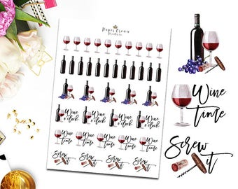RED WINE Icon Planner Stickers/Wine Time/Drinks Icons/Functional Stickers for Erin Condren Planner/Happy Planner/Personal Planner/TN