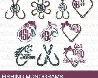 SALE! Fishing SVG, dxf, jpg, png cut files | Fishing Monogram | I'd Rather be Fishing SVG | Girls like to Fish Too svg | Fish Hook svg