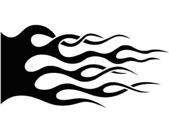 Fire Decal #6 Hot Rod Flames Automotive Car Motorcycle Pin Striping Speed Power Design Element .SVG .EPS .PNG Clipart Vector Cut Cutting