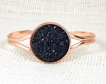 Black Druzy Bracelet - Druzy - Bracelet -  Bridesmaid Bracelet - Cuff Bracelet - Goth - Black - Jewelry - Druzy Jewelry - Druzy Bracelet -