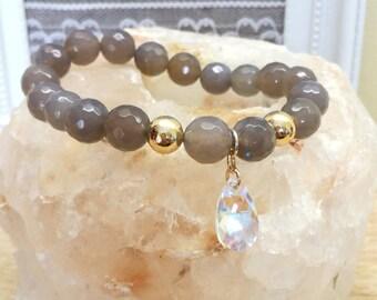 Swarovski bracelet, Agate Bracelet, Gemstone Bracelet, Agate jewelry, Grey agate bracelet, Swarovski  jewelry