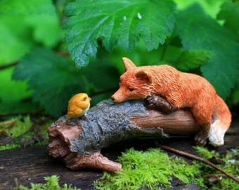 Miniature Dollhouse FAIRY GARDEN ~  Playful Red Fox with Bird ~ NEW