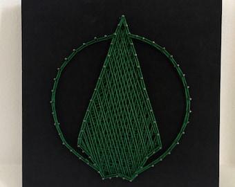 The Green Arrow Logo String Art