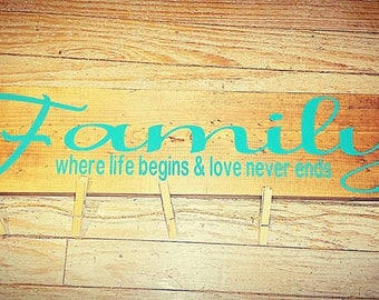 FAMILY rustic sign, farmhouse family, family sign with pics, clothes pics signs, where life begins, love never ends