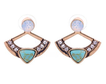 Oasis Gold Natural Stone & Crystal Stud Earrings