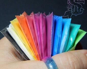 "Pearlescent mica pigment rainbow vibrant set ""Tutti Frutti"" 12x2gr, nail art, UV resin, nail gel, nail acrylic, rainbow"