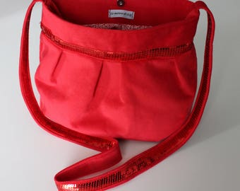 Great purse from red velvet and red glitter band