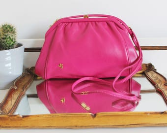 Vintage Jane Shilton Made in England Bright Fuschia Pink Leather Long Strap Evening Wedding Clutch Pouch Across Body Shoulder Bag Purse