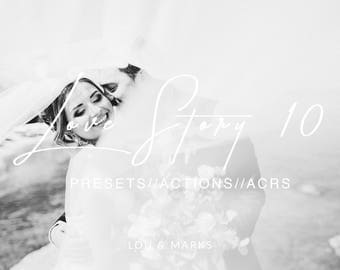 Love Story 10 for Lightroom & Photoshop Actions, Presets, ACRs for Bright Portrait and Modern Moody Wedding Edits in Lightroom Photoshop