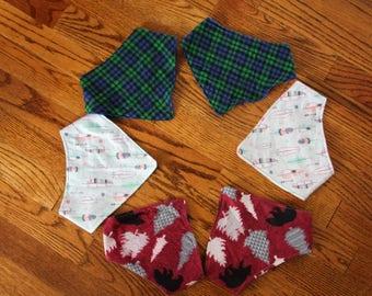 Triangle Drool Bib - Baby, Toddler, Bandana, Plaid, Owl, Neutral, Boy, Girl, Reversible, Custom, Nature, Bear