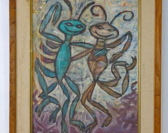 Original Vintage Art Bugtown Ball Cecil A. Mingus 1950s California Artist Max Factor Estate Find!!!