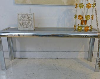 chromebrass finish narrow sofa table wsmoked mirrored glass top 1980s