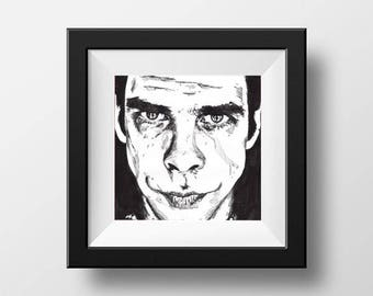 Nick Cave // Nick Cave Poster  // Nick Cave and The Bad Seeds // Red Right Hand // Music Wall Art // Band Art