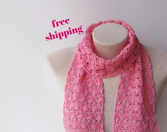 100% Cotton scarf, Ladies scarf, Knit pink scarf, Lace knit scarf, Summer scarf, Lightweight scarf, Knitting scarf, Lace scarf, Soft scarf