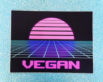 VEGAN VAPORWAVE STICKER - Vegan Decal Bumper Sticker - 80s retro purple aqua black logo