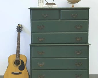 Antique Green hiboy dresser with 7 drawers and hidden casters