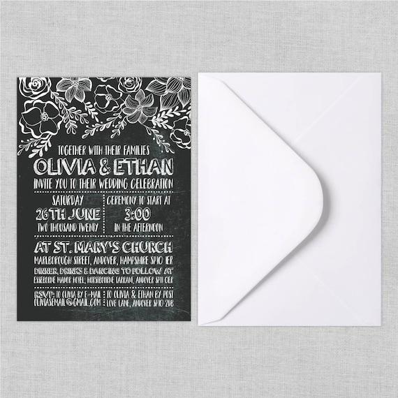 Boho chic wedding invite suite, Chalkboard wedding invitation boho, Floral wedding invites rustic, Bohemian Wedding Invitation Suite, A5