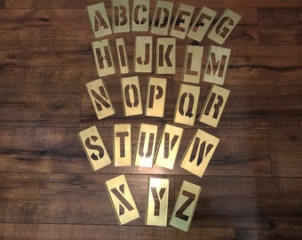 Brass stencil letters/numbers//Alphabet stencils//Capital lettering//Teacher gift//Artwork lettering//Craft supplies