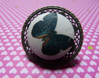 Vintage button ring fabric blue butterfly