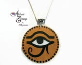 Eye of Ra Pendant with Free Silver Necklace, Ancient Egyptian Symbol Eye of Horus, Sun God Medallion Pendants,Afrocentric Falcon Eye Pendant