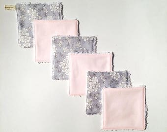 Square wipes / Washcloths / wipes washable babies 2 color liberty cotton and sponge. French manufacturing
