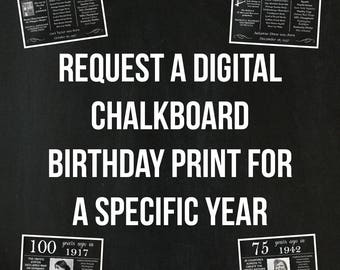 Personalized Birthday Chalkboard Poster, Facts Specific Year DIGITAL FILE
