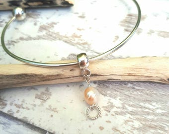 Champagne Freshwater Pearl Charm | Sterling Silver Charm For Bracelets | Handmade Bridal Jewelry | Bridesmaid Keepsakes | Pearl Jewelry