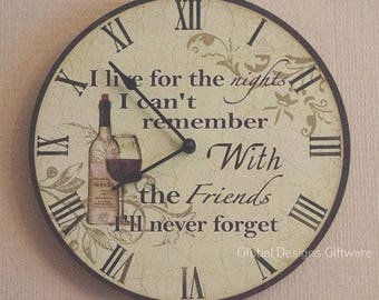 Wine Wall Clock Large Kitchen Living Room Clock Decorative Wall Clock Best Friends I Live For The Nights SG1893