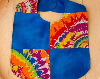Tie Dyed Patchwork Print Infant Bib