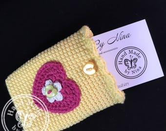 Yellow with heart *Card Pouch