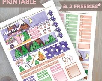 August Erin Condren Monthly Sticker Kit,August Printable Monthly stickers,August Printable Sticker,Camping Monthly sticker kit,August kit