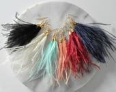 Feather Tassel Earrings, Feather Earrings, Ostrich Feather Earrings, White Feather Earrings, Black Feather, Bohemian Earrings, Boho Earrings