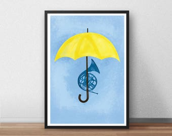 How I Met Your Mother Abstract Print, HIMYM, TV Show, Yellow Umbrella, Blue French Horn, Funny, Illustrated, Poster,  Gift