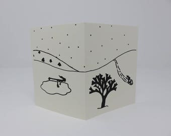 10 Winter Cards//Blank Cards//Snow Cards//Handmade Cards//Black and White Cards