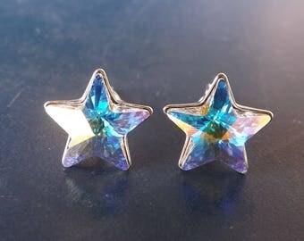 "Swarovski Star Earrings 10 mm ""Crystal AB"" and silver 925"