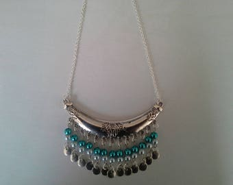 ethnic necklace, silver and blue tone