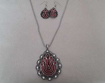 Silver and Red evening jewelry set